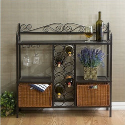 Wildon Home � - Scout Scrolled Bistro Server - Elegant and beautiful, the Scout Scrolled Bistro Server will help with storage, display and organization all in one. In a textured gun metal grey finish with scrollwork detailing, it offers a classically attractive design. The decorative scrollwork rises above the top rack, providing a stylish way to keep everything contained while entertaining. Its compact 36 H x 36.5 W x 11 D build is ideal for a dining room, kitchen or bonus room, and is suitable for houses and apartments alike. Two lower hand-stained rattan baskets measure 8 H x 11.5 W x 9.5 D each and function as removable drawers, excellent for storing linens, a wine opener, and other bar accessories. Two open shelves measure 14 H x 13 W x 11 D each, and include built-in stemmed glass holders to help store and display your favorite glasses. The versatile 35 wide by 10 deep top rack is perfectly suited for prep, storage or service at your next get-together. The slatted shelves are easy to clean and enhance the classical style. Centrally located rings store up to twelve standard wine bottles. With stunning style and clever storage spaces, the Scout Scrolled Bistro Server by Wildon Home is an ideal addition for any beginning wine connoisseur. Features: -Holds 12 Bottles of wine.-Durable metal construction.-Textured gun metal grey finish.-Scout Scrolled collection.-Collection: Scout Scrolled.-Distressed: No.Dimensions: -Overall dimensions: 36'' H x 36.5'' W x 11'' D.-Rattan baskets: 8'' H x 11.5'' W x 9.5'' D.-Open shelves: 14'' H x 13'' W x 11'' D.-Top shelf: 35'' W x 10'' D.-Overall Product Weight: 31 lbs.