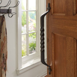 Floral Twist Oversize Door Handle - This oversize floral twisted door handle is regal. It would make for a grand entrance to a kitchen or hallway.