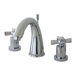 "Kingston Brass - Kingston Brass Millennium Polished Chrome Widespread Lavatory Faucet KS2961ZX - This widespread lavatory faucet with its cylindrical base and  ""J"" spout  will work well with most contemporary or transitional d_cors, manufactured from solid brass this faucet features ceramic cartridge for long lasting performance.. Manufacturer: Kingston Brass. Model: KS2961ZX. UPC: 663370284106. Product Name: Kingston Brass Millennium Widespread Lavatory Faucet, Polished Chrome. Collection / Series: Millennium. Finish: Polished Chrome. Theme: Modern. Material: Brass. Type: Lavatory Faucet. Features: Max 2.2GPM/8.3LPM At 60 PSI"