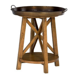 Hammary - Hammary New River Round Tray Table in Rustic Alder - - 204-918.  Product features: Belongs to New River Collection by Hammary; 1 Fixed Shelf; Metal Tray Top. Product includes: Tray Table (1). Round Tray Table in Rustic Alder belongs to New River Collection by Hammary.