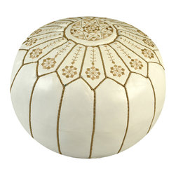 Moroccan White Spring Flower Leather Pouf - Spice up your home with an exotic Moroccan leather pouf. Hand stitched by artisans, this durable pouf is topped with a traditional design and comes in a variety of styles and colors. Use it as footstool, extra seating or a fun addition to your playroom. It'll become a great conversation piece — and functional.