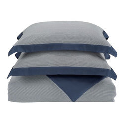 Nine Space - Striped Duvet Set, Queen, Navy - Dress your bed to the nines with this luxuriously soft, tonal-striped bamboo duvet set. It offers you an ecofriendly alternative that's softer than cotton, with the silky feel of cashmere thrown in for a good night's rest. Bamboo is breathable, too, and has the amazing ability to wick moisture away from your skin, so it's a natural choice for bedding linens. 300 thread count.