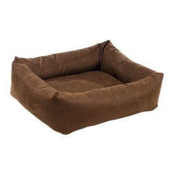 Bowsers Diamond Series Leather-Like Dutchie Dog Bed - Pets feel safe and look stylish in a Bowsers Diamond Series Leather Like Dutchie Dog Bed. The rugged faux leather upholstery comes in your choice of colors and is easy to clean. The removable cushion is easy to wash, and will keep its shape no matter what. Washing Instructions Unzip outer covers and remove cushion. Rezip covers and wash and dry on cool setting. Hand-wash inner bolster and cushion insert. About BowsersSince 1998, Bowsers has been a leader in quality pet products. Focusing on high-quality material, superior craftsmanship, and a wide array of over 65 upholstery fabrics, Bowsers' practical designs have created a revolution in the way many people think of pet products. The interior design team led by Eileen Wilkes and Linda Brown ensures that the award-winning designs reflect the latest contemporary trends in home decor.