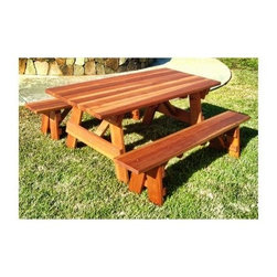 Best Redwood Outdoor Farmer's Picnic Table and Benches - Memories are made around the family dinner table. The Best Redwood Outdoor Farmer's Picnic Table and Benches moves that tradition outside. This handsome picnic table is made of solid redwood, designed to withstand years of family meals, and is customizable. Select the wood cut, either A or B grade, choose one of four finish options, and then choose the size of your picnic table. You can even have square or rounded corners, and an optional 2-inch umbrella hole added to the center of the table. The benches make this an exceptional value.About Best RedwoodSince 1992 Best Redwood has been designing and crafting high quality outdoor furniture. Their outdoor furniture is crafted of solid redwood and either stained or sealed for optimal protection from the elements. Products come in either B Grade or Clear Heart cuts. B Grade cuts come from the outside of the tree and have character from the limited number of knots and sapwood. Clear Heart cuts are the finest architectural redwood grade and come from the oldest and hardest part. They are free of all defects on the face side. All Best Redwood picnic tables, chaise loungers, side tables, garden benches, and all other products are made well for years of use.