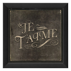 """The Artwork Factory - """"Je t'aime"""" Print - Get a little love in your heart — and on your wall — with this high quality print. The black wooden frame is beveled for extra detail and comes ready to hang in any room you love."""