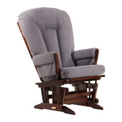 Dutailier - Dutailier Ultramotion Coffee/ Dark Grey 2-post Glider - This Dutailier 2-post glider features a coffee finish and dark grey polyester fabric. This cozy glider offers an exceptionally smooth and extra long glide motion with thick cushions and padded arms, the perfect addition to your child's nursery.