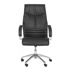 Safavieh - Montenegro Desk Chair - Hard day? You need something that has your back. The adjustable Montenegro Desk Chair brings just the right amount of relaxation to keep stress at bay. Crafted with black leather and PVC, its rugged charm is complemented by a cosmopolitan character.