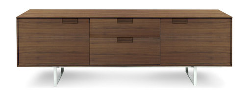 Blu Dot - Blu Dot Series 11 2 Door/2 Drawer Console, Walnut - An elegant and refined approach with thin edges and thoughtful proportions. Subtle and inventive door pulls smoothly open and close drawers with contrasting FLW red interior. Available in graphite on oak or walnut with an alloy-plated stainless steel base. Series Eleven. When ten just isn't quite enough. Solid hardwood over engineered wood substrate with oak veneer, Self-closing door hinges and drawer glides, Adjustable interior shelf, Red drawer interior (Frank Lloyd Wright red), Cord management holes