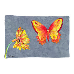 Caroline's Treasures - Gerber Daisy and Buttefly Fabric Standard Pillowcase Moisture Wicking Material - Standard White on back with artwork on the front of the pillowcase, 20.5 in w x 30 in. Nice jersy knit Moisture wicking material that wicks the moisture away from the head like a sports fabric (similar to Nike or Under Armour), breathable performance fabric makes for a nice sleeping experience and shows quality. Wash cold and dry medium. Fabric even gets softer as you wash it. No ironing required.