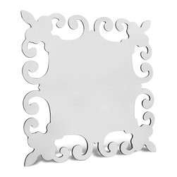 Zuri Furniture - Pearl Square Glass Decorative Wall Mirror - This mirror offers a sophisticated, clean look that makes it a natural fit in every decor.