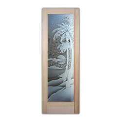 """Palm Sunset 3D Glass Front Doors - Glass Entry Doors Sandblast Frosted Glass Des - Glass Front Doors, Entry Doors that Make a Statement! Your front door is your home's initial focal point and glass doors by Sans Soucie with frosted, etched glass designs create a unique, custom effect while providing privacy AND light thru exquisite, quality designs!  Available any size, all glass front doors are custom made to order and ship worldwide at reasonable prices.  Exterior entry door glass will be tempered, dual pane (an equally efficient single 1/2"""" thick pane is used in our fiberglass doors).  Selling both the glass inserts for front doors as well as entry doors with glass, Sans Soucie art glass doors are available in 8 woods and Plastpro fiberglass in both smooth surface or a grain texture, as a slab door or prehung in the jamb - any size.   From simple frosted glass effects to our more extravagant 3D sculpture carved, painted and stained glass .. and everything in between, Sans Soucie designs are sandblasted different ways creating not only different effects, but different price levels.   The """"same design, done different"""" - with no limit to design, there's something for every decor, any style.  The privacy you need is created without sacrificing sunlight!  Price will vary by design complexity and type of effect:  Specialty Glass and Frosted Glass.  Inside our fun, easy to use online Glass and Entry Door Designer, you'll get instant pricing on everything as YOU customize your door and glass!  When you're all finished designing, you can place your order online!   We're here to answer any questions you have so please call (877) 331-339 to speak to a knowledgeable representative!   Doors ship worldwide at reasonable prices from Palm Desert, California with delivery time ranges between 3-8 weeks depending on door material and glass effect selected.  (Doug Fir or Fiberglass in Frosted Effects allow 3 weeks, Specialty Woods and Glass  [2D, 3D, Leaded] will require approx. 8 w"""