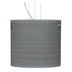 Besa Lighting - Besa Lighting 1KG-4184TN-LED Tamburo 1 Light LED Cable-Hung Pendant - Tamburo is a classic open-ended cylinder of handcrafted glass, a shape that will stand the test of time. Our Titan glass is a soft off-white cased glass that is handcrafted with spiraling strokes of silver, emphasizing the subtle brush pattern. The silvery rippled design is subdued and harmonious. Unlit, it appears as simply a textured surface like spun silk, but when lit the texture comes alive. The smooth satin finish on the clear outer layer is a result of an extensive etching process, with the texture of the subtle brushing. This blown glass is handcrafted by a skilled artisan, utilizing century-old techniques passed down from generation to generation. The cable pendant fixture is equipped with three (3) 10' silver aircraft cables and 10' AWM cordset, and a low profile flat monopoint canopy.Features: