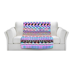DiaNoche Designs - Fleece Throw Blanket by Organic Saturation - Girly Colorful Aztec Pattern - Original Artwork printed to an ultra soft fleece Blanket for a unique look and feel of your living room couch or bedroom space.  DiaNoche Designs uses images from artists all over the world to create Illuminated art, Canvas Art, Sheets, Pillows, Duvets, Blankets and many other items that you can print to.  Every purchase supports an artist!