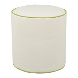Oilo - Glider Pouf, White Faux Leather, Spring Green Piping - Middle-of-the-night feedings call for comfort, and a stylish ottoman is a perfect place to rest your feet. Since this one is faux leather, you don't have to worry about spills. Cleanup is a breeze and the modern design means you won't be trading form for function.