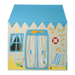 """Wingreen - WinGreen Large Cotton Playhouse - Beach House - Who would like to have a day of sandcastle fun in our Beach House playhouse?! Our seaside pad is perfect for girls and boys alike, appliqued and embroidered with a beautiful sail boat, a lighthouse, deckchair ... even a cup of tea awaits! 100% cotton. Easy to assemble with a light metal frame. Storage bag included. Size: 52.75"""" long x 43.30"""" wide x 64.96"""" high."""