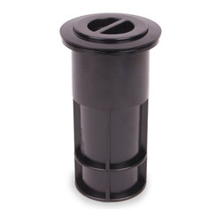 """Color Match Pool Fittings - Umbrella Pole Holder Set 5-inch, Black - Perfect for umbrellas, volleyball poles and tiki torches. Both our 5-inch pole holders are designed to hold a 1 ½"""" diameter pipe. Unique press-in flange fits inside pole holder with no glue needed.  Flange can be removed for easy replacement."""