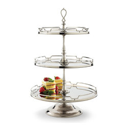 Frontgate - London Three-Tiered Server - Elegantly presents desserts or appetizers and can also be converted into a two-tiered server. Requires minor assembly. Hand-wash only. Inspired by a classic 20th-century Parisian flea market find, our exclusive London Serveware Collection beautifully sets the stage for holiday entertaining. Sized for serving large crowds, these pieces are durably crafted from stainless steel and glass with nickel-finished accents.. . .