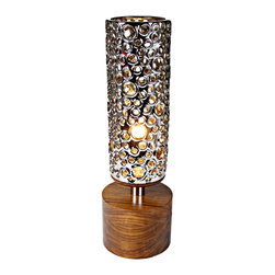 EcoFirstArt - Manhattan Nickle - Bring ambient illumination to your decor and make an eco-conscious statement in the process. This lovely cylindrical accent lamp, inspired by midcentury modern design, is crafted from sustainable wood, nickel and other organic materials to light and delight in your favorite setting.