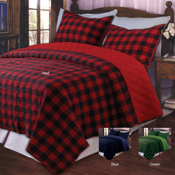 None - Western Plaid Red King-size 3-piece Quilt Set - In cozy cotton plaid, this king quilt set adds a touch of comfortable, rustic appeal. This bedding set is available in a number of popular color combinations and includes a reversible king-size quilt plus a pair of matching pillow shams.
