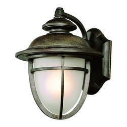 "Trans Globe Lighting - LED Miners 13"" Wall Lantern - LED fixture brings low voltage solutions to outdoor lighting. Traditional coal mine acorn lantern. Scalloped wall plate with cross bar frame and slightly curved arm wall arm. In dark rust UL Listed for Wet locations;Powder coated finish;Frosted glass dish shade;LED bulb included in a Vintage outdoor wall fixture, equals up to 60 watts of brightness;Matching outdoor collection;Bulb Type: LED;Bulb Wattage: 10W LED;No. of Lights: 6;Bulbs Included: Yes;UL Listed: WET;Warranty: Limited 1 year waranty Dimensions: 13"" H x 10"" W"