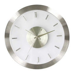 George Nelson - Stainless Steel Wall Clock w Clear Face - Contemporary design. Clear face. Uses AA battery (not included). Stainless steel rim. Quartz movement. No assembly required. 12.25 in. Dia. X 1.5 in. D (1.32 lbs.)See-through glass face with Silver hour marker, stainless steel clock rim, all in Silver and clear features mod style. Quartz movement requires 1 AA battery.