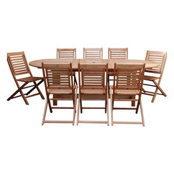 International Home Miami - Amazonia BT Milano Grand Extendable 9-Piece Patio Dining Set - Great Quality, elegant design patio set, made of solid eucalyptus wood. FSC (Forest Stewardship Council) certified. Enjoy your patio with style with these great sets from our Amazonia outdoor collection, an outdoor-Piece suited for a plethora of uses, whether it be a casual family dinner or upscale event.