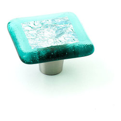 """Windborne Studios - Stratum Foil Glass Knobs and Pulls, Auamarine, 1.5"""" Square - The """"Stratum Foil Collection"""" is made with layering textures fused inside the glass creating a framed piece of art."""