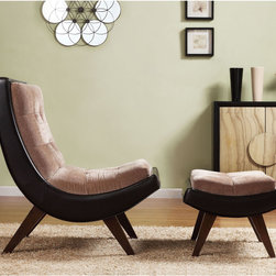 Inspire Q - INSPIRE Q Albury Two-Tone Lounging Chair with Ottoman - Give your room a look that is oozing modern sophistication and understated elegance with this contemporary lounge chair and ottoman. This two-piece set features a velvet seat with faux-leather trim and a hardwood base for a stylish look in any space.