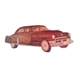 1949 Inlaid Cadillac Wall Decoration - Hey, Daddy-O!  Would you check out this phenomenal homespun wall mounted representation of a 1949 Cadillac? Perfect for the car buff in your life. Made in the United States circa 1949.