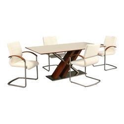 Pastel Furniture - Pastel Furniture Charlize 5 Piece Dining Set with Akasha Chairs in Walnut - Pastel Furniture - Dining Sets - CHARLIZE5PAKASHAWAPKG Pastel Furniture Charlize White Glass Top Dining Table in Walnut