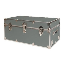 Rhino - Rhino Armor Storage Trunk in Silver (Super Ju - Choose Size: Super JumboTwo nickel plated steel universal wheel adapter plates mounted on the side of the trunk. Laminated armor exterior. Strong hand-crafted construction using both old world trunkmaking skills and advanced aviation rivet technology. Steel and aluminum aircraft rivets used to ensure durability. Heavy duty proprietary nickel plated steel hardware. Steel lid hinges and steel lid stay for keeping the lid propped open. Tight fitting steel tongue and groove lid to base closure to keep out moisture, dirt, insects and odors. Stylish lockable nickel plated steel trunk lock. Loop for attaching a padlock. Genuine leather handles. American craftsmanship. Self-sticking adhesive on the back of the name plate. Upper or lower case lettering. Lettering is in black. The name plate can take 24 characters per line. The max number of lines is 2. Warranty: Lifetime warranty includes free non-cosmetic repairs for the life of the trunk. Made from smooth 0.38 in. premium grade baltic birch hardwood plywood. No paper or plastic lining anywhere avoiding peeling or tearing. Name plate made from plastic. No assembly required. Cube: 20 in. W x 18 in. D x 18 in. H (22 lbs.). Small: 30 in. W x 16 in. D x 12.5 in. H (24 lbs.). Medium: 30 in. W x 16 in. D x 16 in. H (26 lbs.). Large: 32 in. W x 18 in. D x 14 in. H (27 lbs.). Extra Large: 34 in. W x 20 in. D x 15 in. H (32 lbs.). Extra Extra Large: 36 in. W x 18 in. D x 18 in. H (36 lbs.). Jumbo: 40 in. W x 22 in. D x 20 in. H (52 lbs.). Super Jumbo: 44 in. W x 24 in. D x 22 in. H (69 lbs.). Name Plate: 3 in. L x 1 in. H (0.5 lbs.)The hand-crafted American Made Rhino Armor Cube is constructed from the highest quality components. Rhino Armor is an exterior 1000d Cordura Nylon textured sheathing that's highly resistant to water penetration, denting and scratching. The Rhino Armor Cube is conveniently sized and ruggedly built. In fact, its strong enough to stand on ! The Rhino Ar