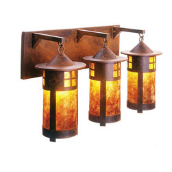 Steel Partners Inc - Vanity - PASADENA TRIPLE (3 bulbs) - Every piece we create is unique handcrafted at our factory in Chehalis, Washington, USA. Due to this, lead times are 2 to 4 weeks.