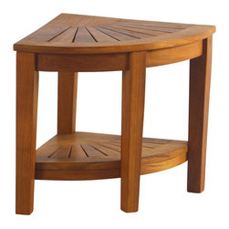 "Aqua Teak - Teak Corner Stool With Shelf - Large solid teak corner shower stool with shelf. This stool unit is ideal for the bathroom, shower, deck, patio, or pool deck. Solid and stable due to solid teak construction. Ideal mix of a large size with a compact footprint to fit in the corner of your shower. Some assembly required. Weight capacity: 250 lbs.. Shelf: 17.25 in. L x 18 in. W x 12.75 in. H. Overall: 22 in. L x 15.25 in. W x 17 in. H (15 lbs.)It is naturally water resistant making it ideal for environments with a heavy moisture exposure such as showers, bathrooms, and pools. Don't be fooled by ""teak"" looking products or ""teak style"" sold at mass merchandisers. This is solid teak wood. Teak wood has a life expectancy of 75 years if left untreated due to its natural rubber content that naturally resists moisture. No other wood compares to Teak when it comes to durability, elegance, stability and low maintenance. Aqua Teak only uses wood from plantations, farm grown with no direct impact on the natural environment."