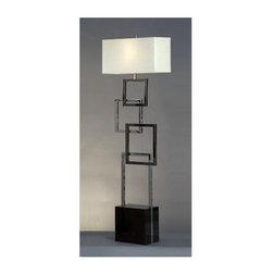 Nova Lighting - Nova Lighting 11099 62 Inch Floor Lamp with White Linen Shade from the Cuadros C - 62 Inch Contemporary / Modern Floor Lamp with White Linen Shade from the Cuadros CollectionFeatures:
