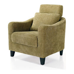 None - Zen Fabric Club Chair - Contemporary European Style club chair features soft velvet fabric upholsteryComfortable furniture built with solid and sturdy wood frameChair's deep,high-density foam padding and rolled armrests provide ergonomic comfort