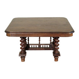 Antiques - Antique Oak French 4Ft Jacobean Dining Table - Oak finish