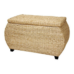 Oriental Unlimted - V-Woven Rush Grass Storage Box - A simple and beautiful rattan style storage chest. Great for storage or an alternative coffee table. The inside and top are lined with a fine White cotton fabric. Unique bowed ends and wood feet. Thick and substantial lid is hinged to the box. Hand crafted from beautifully textured V woven water hyacinth rush grass. Over-all: 31.5 in. W x 16 in. D x 17.5 in. H (12.5 lbs.). Interior: 24.5 in. W X 13.5 in. D X 13.5 in. H