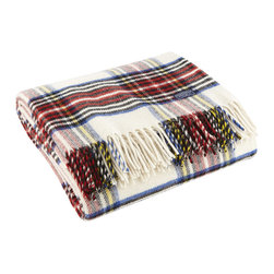 Faribault Woolen Mill - Royal Carefree Stewart Wool Throw - White - The Stewart Plaid is a Faribault classic. Now offered in 100% Merino wool for a finer hand, the throw is as soft as its colors are vibrant. Displayed on the couch or kept in the car for summer picnics, this machine wash and dryable throw has endless possibilities. The design is simply timeless.