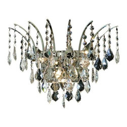 Elegant - Victoria Chrome Spectra Swarovski Wall Sconce Chandelier - The Victoria Collection provides a display of brilliant color.  This vibrant series features multi-layers of crystals throughout its body, adding decorative design to a room.