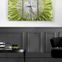 """Go Green"" - Abstract Metal Wall Clock by Jon Allen - Go Green Abstract Metal Art Clock"