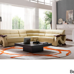 Matisse - Lana Leather Sectional Sofa - The Lana transitional sectional sofa is made with hardwood products and upholstered in the finest grain leather. The sectional is styled with S-shaped arms topped with wavy mahogany brown armrests--making it the perfect fresh piece for your home.