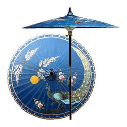 Oriental Unlimited - 7 ft. Tall Victory of the Peacock Patio Umbre - Choose Base: NoneHandcrafted and hand-painted by master artisans. 100% Waterproof and extremely durable. Umbrella shade can be set at 2 different heights, 1 for maximum shade coverage and the other for a better view of the shade. An optional base, which secures the umbrella rod and shade against strong winds and rain. Patio umbrella rod and base is constructed of stained oak hardwood for a rich look and durable design. Umbrella shade is made of oil-treated cotton. Minimal assembly required. Canopy: 76 in. D x 84 in. HThis unique patio umbrella is an artisan's homage to the royal peacock, famed for its wisdom, pride and self-assurance. Bedecked in gold, this stunning hand-painted peacock is depicted with a nurturing yellow sun and an Asian tree, symbolic of longevity.