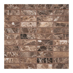 """Marbleville - Emperador Dark 1"""" x 3"""" Honed Marble Mosaic in 12"""" x 12"""" Sheet - Premium Grade Emperador Dark 1"""" x 3"""" Tumbled Finish Mesh-Mounted is a splendid Tile to add to your decor. Its aesthetically pleasing look can add great value to any ambience. This Mosaic Tile is made from selected natural stone material. The tile is manufactured to high standard, each tile is hand selected to ensure quality. It is perfect for any interior projects such as kitchen backsplash, bathroom flooring, shower surround, dining room, entryway, corridor, balcony, spa, pool, etc."""