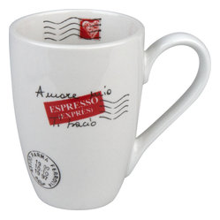 Konitz - Amore Mio S/4 Mugs - With every sip from this inviting coffee mug, you'll remember your trip to Italy or it'll serve as a reminder to get out there one day. The mug features a decorative postmark and stamp showing a heart — now that sums up Italy.