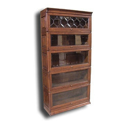 EuroLux Home - New Five Stack Bookcase Oak Glass Raised - Product Details