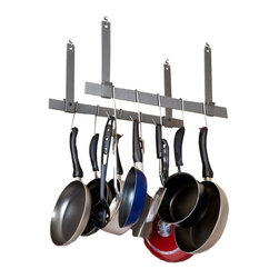 Enclume - Rack It Up Ceiling Bar Pot Rack - Set of 2 - Set of 2. Hanging. Made from hammered steel. Powder coat color. Includes twelve pot hooks, hardware and steel anchors (ceiling caps/covers not included). Light weight: 7 lbs.. Keeps kitchen clean and clutter-free. Stores pots and utensils overhead for easy access. Frees up counter top and cabinet space. Decorative style. Makes cooking more convenient and fun. Warranty: Five years limited. Overall: 22 in. W x 16 in. H. Assembly InstructionsEspecially designed for homes with smaller kitchens, also condos, town homes and apartments. Steel anchors eliminate the need to attach rack to joists or studs. Position rack in DRYWALL anywhere you want.