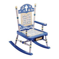 Levels of Discovery - Rock of Ages Bible Rocker - Add fun and spirituality to your child's room with Rock of Ages kids' bible rocking chair. With a verse on the seat, a handy shelf underneath, and a ball that plays 'Jesus Loves Me,' this chair can be customized and a photo greeting thank you card.