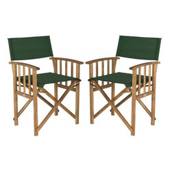 Safavieh - Laguna Director Chair - Give your porch or patio a touch of Hollywood glam with a pretty and practical set of two Laguna outdoor director chairs. These folding chairs are crafted of eco-friendly acacia wood in a teak finish with spiffy green all-weather Textilene fabric.