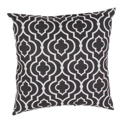 "Jaipur Rugs - Black/Ivory color polyester starlet fresco poly fill pillow 18""x18"" - These fashion forward pillows, in trellis, stripes and whimsical patterns are for both indoor and outdoor use."