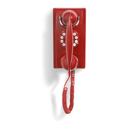 Crosley - Wall Phone - Red - The Crosley 302 Wall Phone blends a classic style phone with updated technology, so you can get the benefits of both worlds! The 302 Wall Phone appears to have a rotary style mechanism, but luckily, it includes push button technology, so you dont have to spend too much time dialing. Modern conveniences include flash and redial features, a tone and pulse switch, a ringer volume on/off switch and earpiece volume control. Let the Crosley 302 Wall Phone add a touch of nostalgic flair to any home living space!